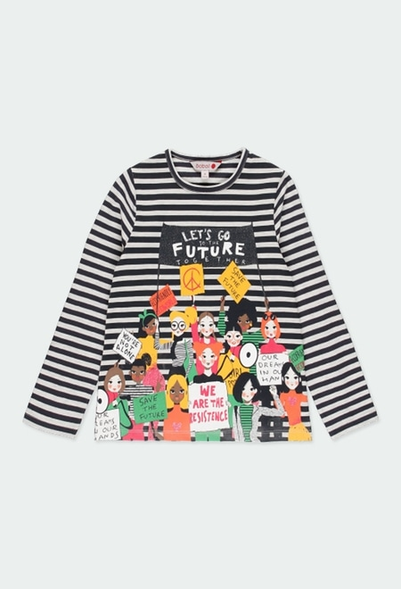 Knit t-Shirt striped for girl_1