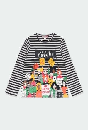 Camiseta punto listada de niña_1