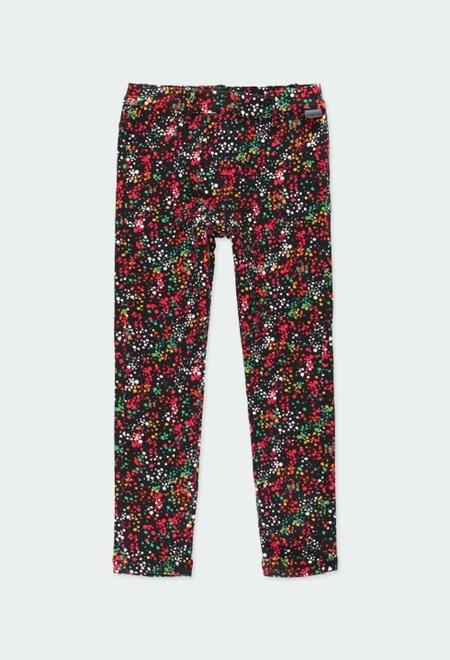 Pantalon en molleton stretch a petits pois pour fille_1