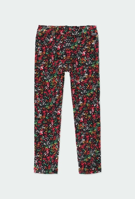 Stretch fleece trousers polka dot for girl_1