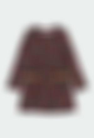 Vestido felpa bolinhas para menina