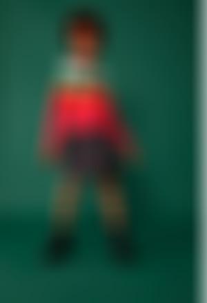 Vestido tricot combinado para menina