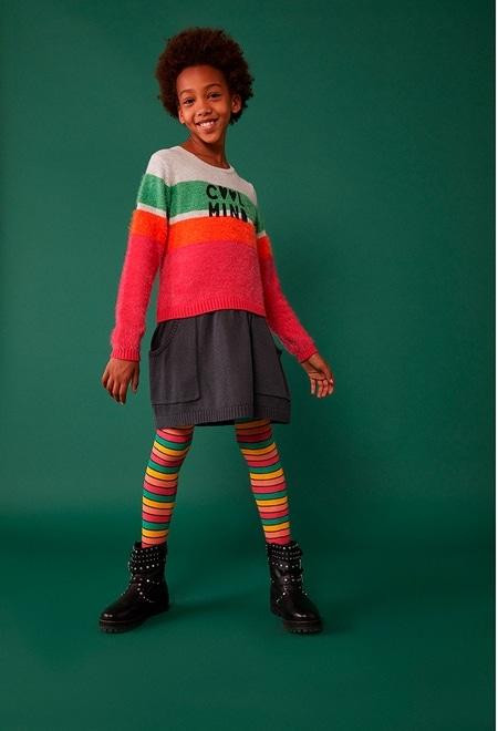 Vestido tricot combinado para menina_1