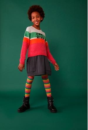 Knitwear combined dress for girl_1