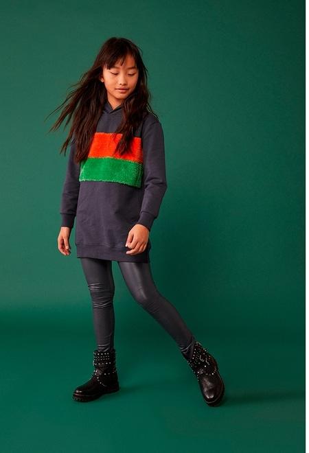 Fleece dress with stripes for girl_1