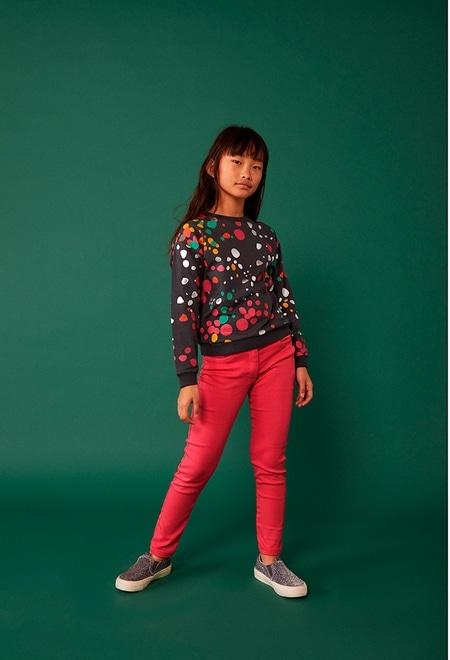 Fleece sweatshirt polka dot for girl_1