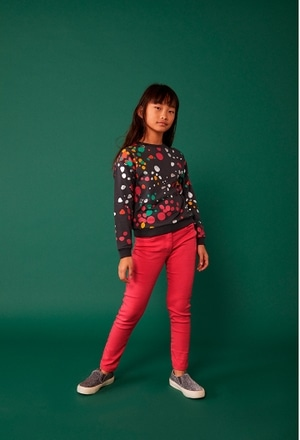 Fleece sweatshirt polka dot for girl_1