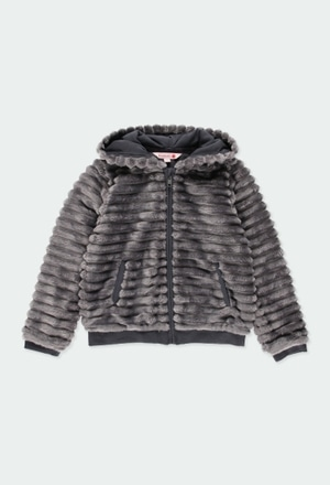 Fluffy hooded jacket for girl_1