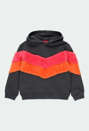 Fleece sweatshirt with stripes for girl_1