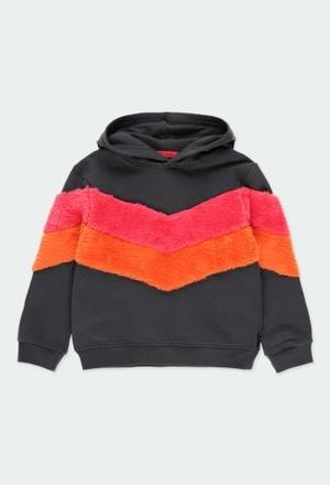 Fleece sweatshirt with stripes for girl_1