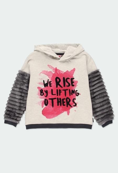 Fleece with hood sweatshirt for girl_1