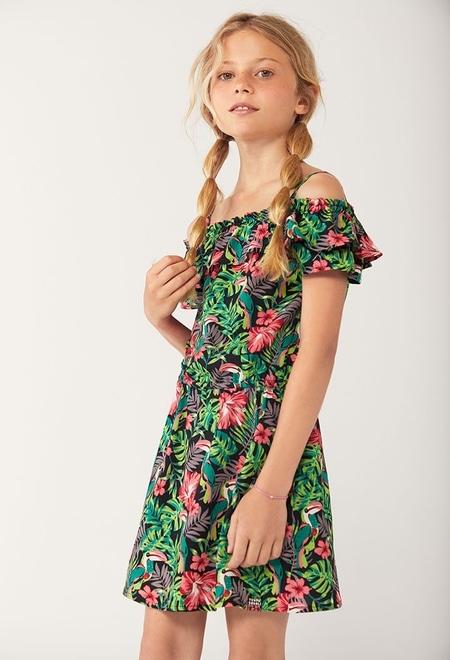 Viscose dress floral for girl_1
