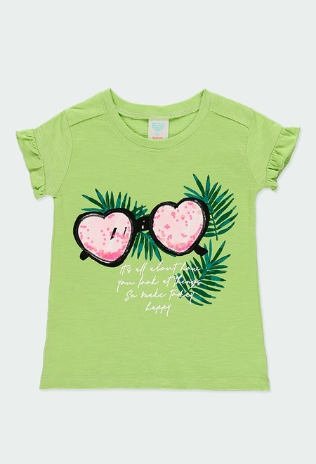 """Camiseta punto flamé """"gafas"""" de niña_1"""