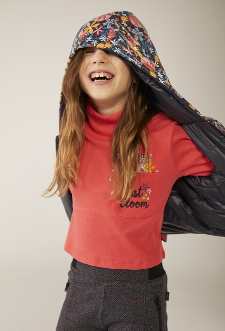 Ribbed turtleneck t-Shirt for girl_1