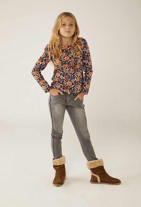 Chemise longue fleurs pour fille_1