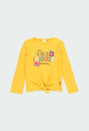 Camiseta punto canalé con lazo de niña_1