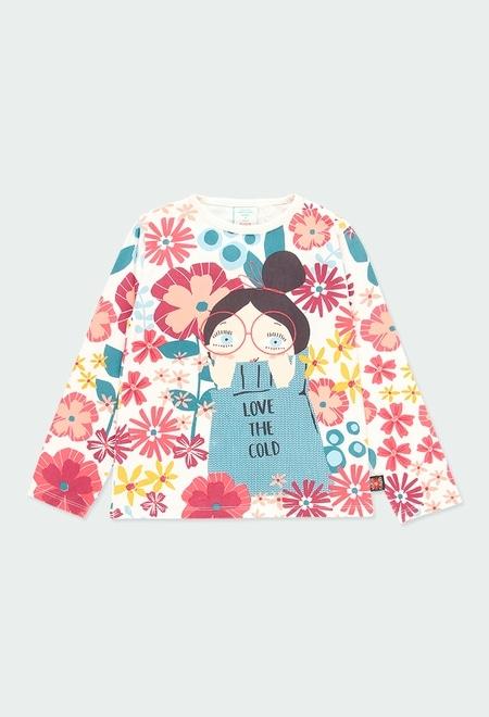 Camiseta malha elástica floral para menina_1