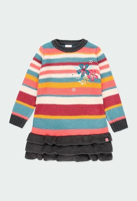 Vestido tricotosa listada de niña_1