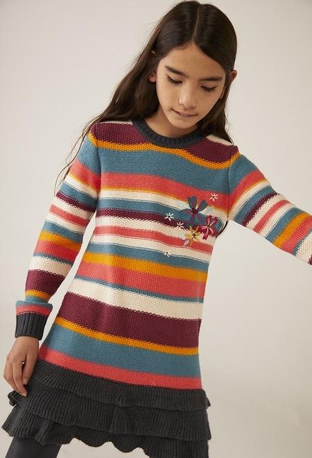 Knitwear dress striped for girl_1