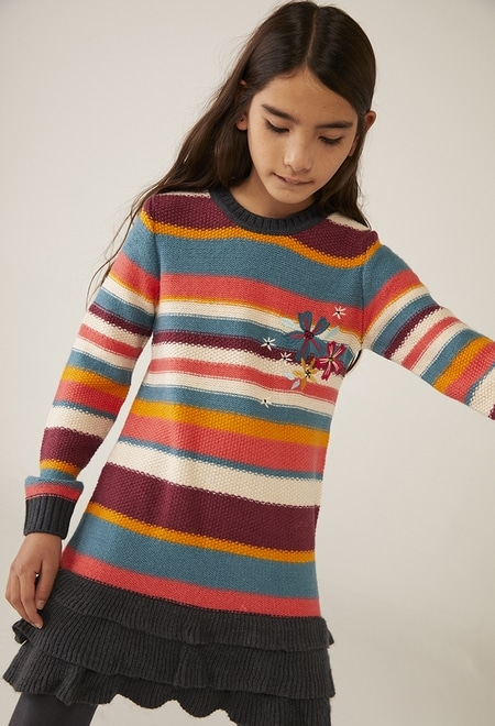 Vestido tricot às riscas para menina_1