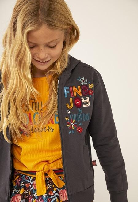 """Fleece jacket """"floral"""" for girl_1"""