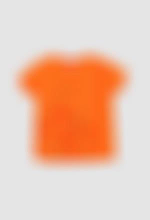 Camiseta punto flamé de niña