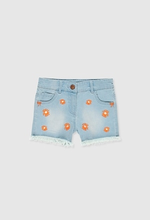 Stretch denim shorts for girl_1