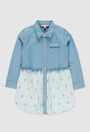 Vestido denim combinado de niña_1