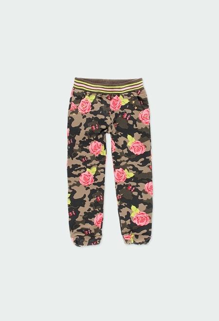 Calças felpa elástica floral para menina_1