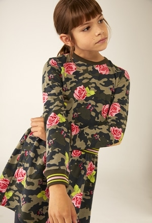 Knit stretch dress floral for girl_1