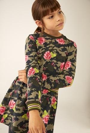 Vestido malha elástico floral para menina_1