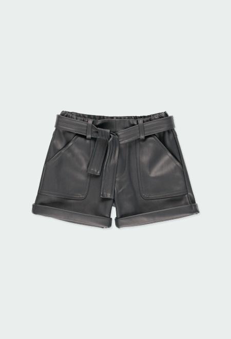 Short cuir synthétique pour fille_1