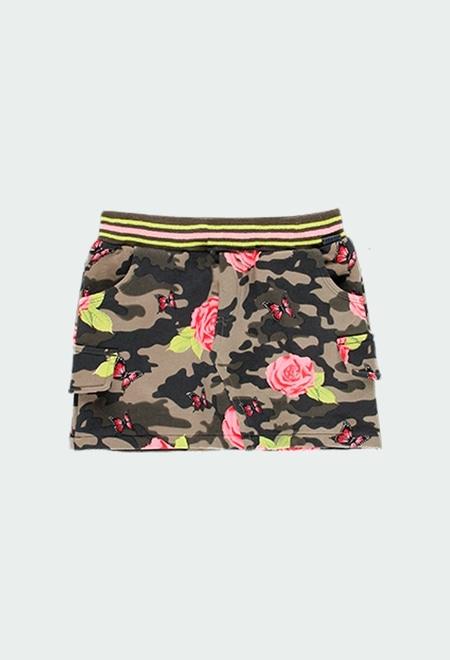 Fleece skirt stretch floral for girl_1