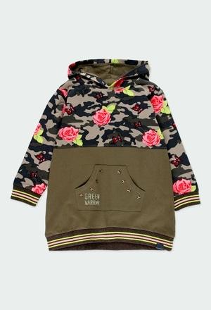 Vestito jersey combinato fiori per ragazza_1