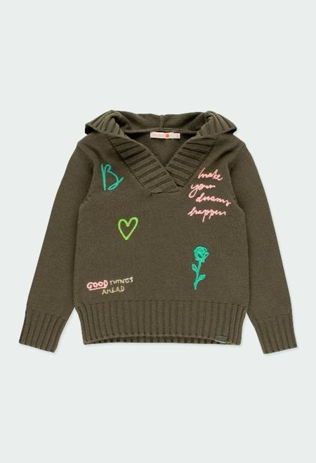 Pullover tricot com capuz para menina_1