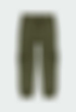 Pantalón felpa con bolsillos de niña