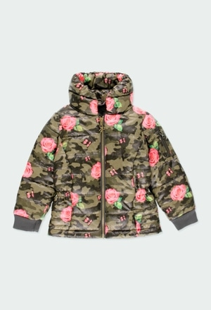 Parka tecido técnico floral para menina_1