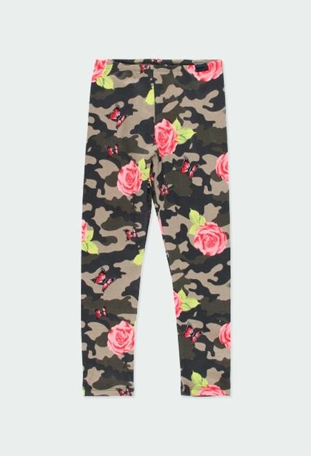 Leggings malha elástica floral para menina_1