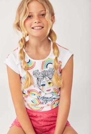 """Camiseta punto """"arco iris"""" de niña_1"""
