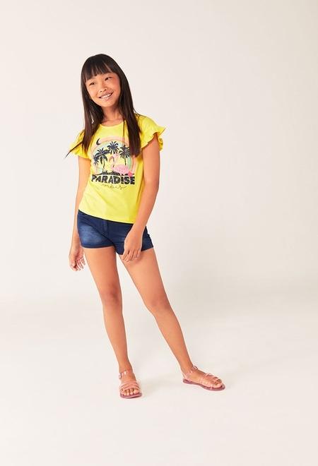 "T-Shirt tricot ""flamand rose"" pour fille_1"