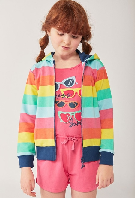 Fleece jacket striped for girl_1