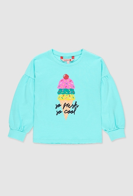 Knit t-Shirt flame for girl_1