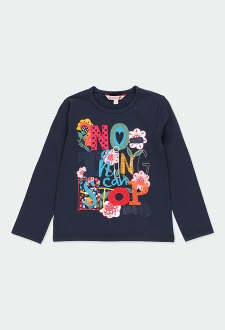 "Camiseta malha elástica ""floral"" para menina_1"