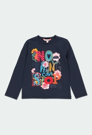 """Stretch knit t-Shirt """"floral"""" for girl_1"""