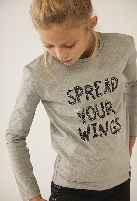 """Camiseta punto fantasía """"alas"""" de niña_1"""