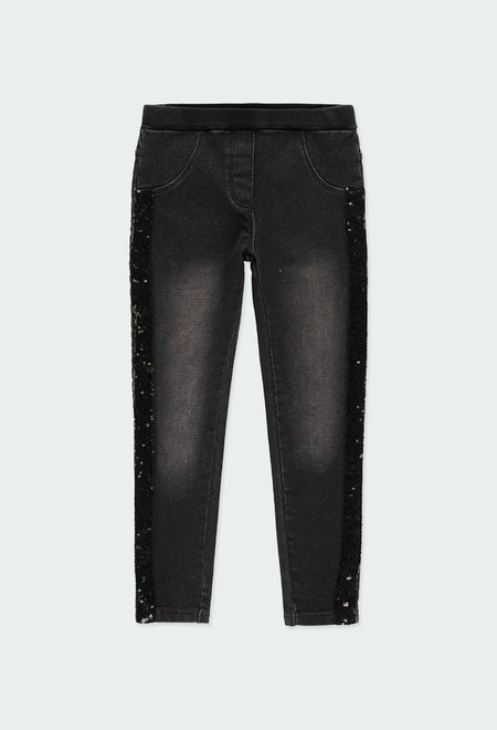 Denim trousers knit for girl_1
