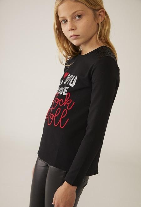 "Camiseta malha elástica ""rock"" para menina_1"