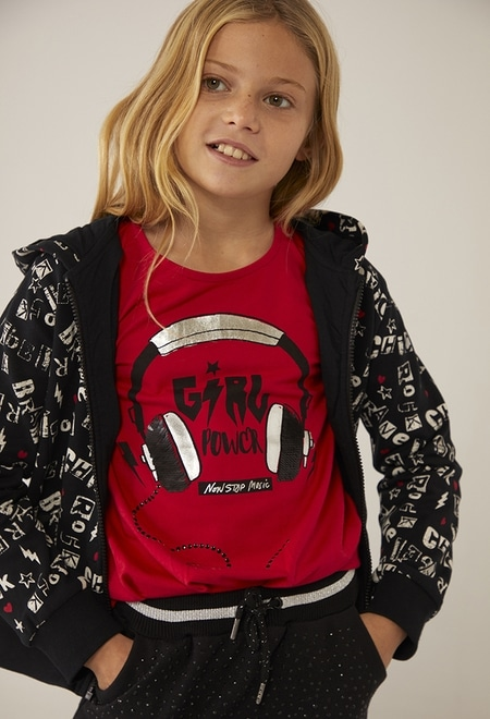 "Knit t-Shirt ""bbl music"" for girl_1"