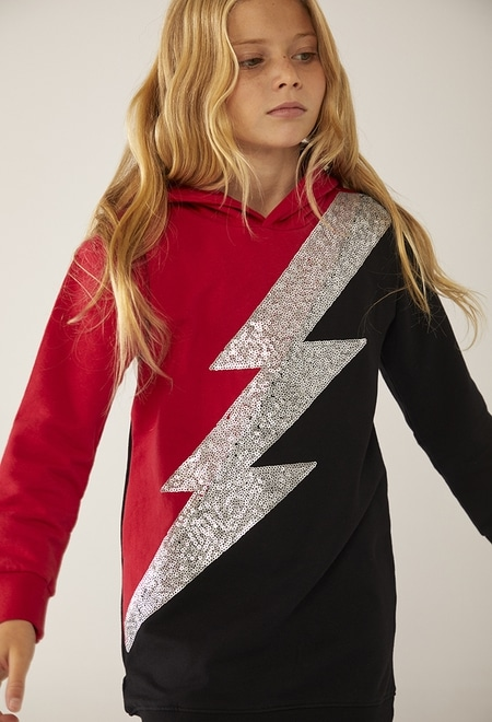 Fleece dress hooded for girl_1