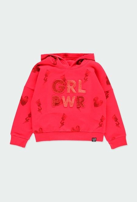 Fleece sweatshirt hearts for girl_1
